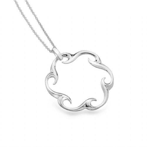 Circular Wave Pendant Sterling Silver 925 Hallmarked All Chain Lengths